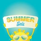 Vector summer happy sun holding sale offer sign Royalty Free Stock Photo