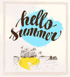 Vector summer holiday card with hand written text message. Stock Photos