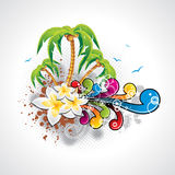 Vector Summer Holiday Design with palm trees. Royalty Free Stock Photos
