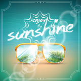 Vector Summer Holiday Design with sunglasses. Royalty Free Stock Photography