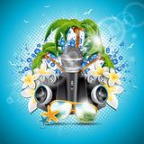 Vector Summer Holiday illustration on a Music and Party theme with speakers and sunglasses on blue background. Stock Image