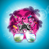 Vector Summer Holiday illustration on a Music and Party theme with speakers and sunglasses on blue background. Royalty Free Stock Photos