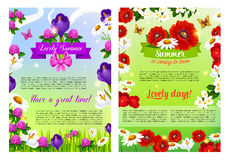 Vector summer holiday posters of flowers bouquets. Summer is coming posters set for summertime holiday greeting of blooming flowers, poppy or clover petals Royalty Free Stock Image