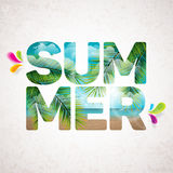 Vector Summer Holiday typographic illustration with tropical plants Royalty Free Stock Image