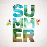 Vector Summer Holiday typographic illustration with tropical plants, flower, beach and ocean Royalty Free Stock Photo