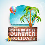 Vector Summer Holiday typographic illustration on vintage wood background. Tropical plants, palm,ocean landscape and air balloon.