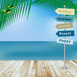 Vector summer holiday with wood terrace Royalty Free Stock Images
