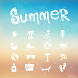 Vector summer icon set on a blurred background beach. Stock Photography