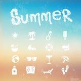 Vector summer icon set on a blurred background beach. Illustration stock illustration