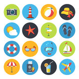 Vector summer icon set. Sunrise, sea and vacation tour Stock Photos