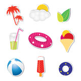 Vector summer icon set on white background Royalty Free Stock Photos