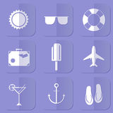 Vector summer icons. Flat design trend Royalty Free Stock Photo