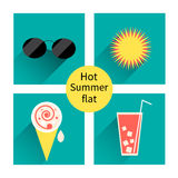 Vector summer icons. Flat design trend. Retro. Stock Photography