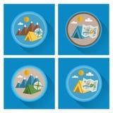 Vector summer icons. Flat design. Vector summer icons. Flat design trend. Retro color. vacation icons set. Flat style design. Vector summer illustration Stock Photography
