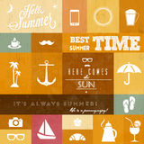 Vector summer icons / whith creative typographic m Stock Photography