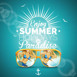 Vector Summer illustration with sexy girl and sunglasses on blue background.  Royalty Free Stock Photos