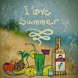 Vector summer illustration with still life Royalty Free Stock Photo
