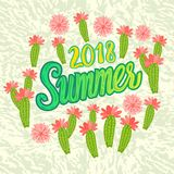 Vector Summer 2018 inscription with trend leaves isolated on black background. Lettering in the trend color style stock illustration