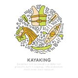 Vector summer kayaking icon set, hand draw style with decorations in round form. Doodling of kayak boat, top and front. View, life vest, wave, kayak equipment Stock Photography