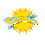 Vector summer label. summer icon with sun. Royalty Free Stock Photography