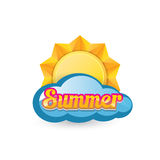Vector summer label. summer icon with sun. Stock Photos
