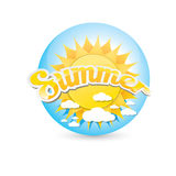 Vector summer label. summer icon with sun. Stock Photo