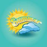 Vector summer label. summer icon with sun. Royalty Free Stock Photos