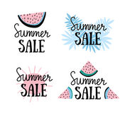 Vector summer labels with hand drawn slices of watermelon, palm leaves and hand written text Summer sale. Stock Photo