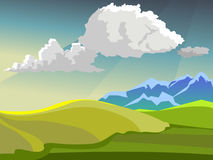 Vector summer landscape. Background for browser games. Beautiful rural landscape on a background of mountains. The sky overcast sky. At the clouds float high Stock Photography