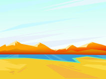 Vector summer landscape.  Beautiful bright background. Clear sunny weather Royalty Free Stock Image