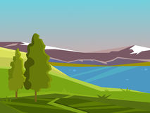 Vector summer landscape. Beautiful bright background. Landscape on the background of the lake and mountains. Summer day. Countryside Stock Image