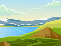 Vector summer landscape. Beautiful bright background. Landscape on the background of the lake and mountains. Summer day. Countryside Royalty Free Stock Images