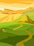 Vector summer landscape. Beautiful bright background. Vector vertical landscape. The countryside. Hot day Stock Images