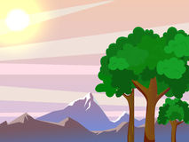Vector summer landscape. Beautiful landscape. Large trees in the foreground. Beautiful background Royalty Free Stock Photography