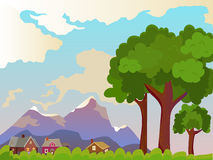 Vector summer landscape. Beautiful rural landscape. Large trees in the foreground. Beautiful background Royalty Free Stock Photos
