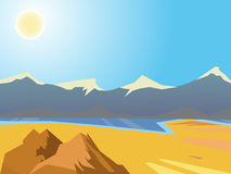 Vector summer landscape. Landscape in the desert mountains in the background. Beautiful bright background. Clear sunny weather Royalty Free Stock Photos