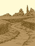 Vector summer landscape. A dirt path through fields of wheat vector illustration