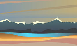 Vector summer landscape. Evening landscape. Beautiful colorful background. Screensaver for browser games. Landscape on the background of the river and the sky Royalty Free Stock Images
