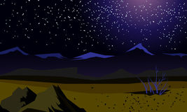 Vector summer landscape. Night landscape. Beautiful background. Screensaver for browser games. Landscape on the background fields and mountains. In the sky the Stock Image