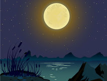 Vector summer landscape. Night landscape. In the sky big moon. Beautiful colorful background. Screensaver for browser games. Landscape on the background of Stock Image