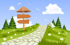 Vector summer landscape with a walkway. Illustration Stock Photography