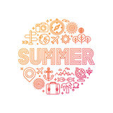 Vector summer lettering with linear icons and signs Royalty Free Stock Images