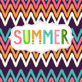 Vector Summer lettering with seamless pattern Stock Photos