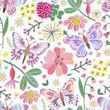Vector summer meadow seamless pattern. Flowers, butterfly. Background stock illustration
