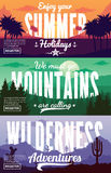 Vector summer, mountains and desert adventures banners Royalty Free Stock Images