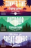 Vector summer, mountains and desert adventures banners Stock Photos
