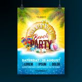 Vector Summer Night Beach Party Flyer Design with Tropical Palm Leaves and Float on Ocean Landscape Background. Summer. Holiday Illustration with Paradise stock illustration