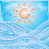 Vector summer ocean background. Like paint Royalty Free Stock Photo