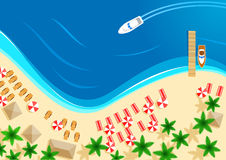 Vector summer ocean beach vacation top view. Beach and sea top view. Summer holidays vacation and relax paradise resort or travel vector design of beachfront royalty free illustration