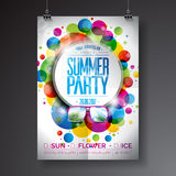 Vector Summer Party Flyer Design with typographic design on abstract color circles background. Stock Images